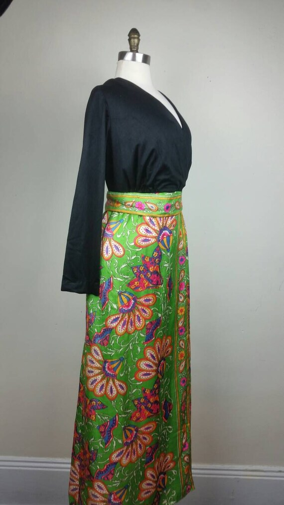 60s Maxi Dress Psychedelic Hippie Print L - image 3