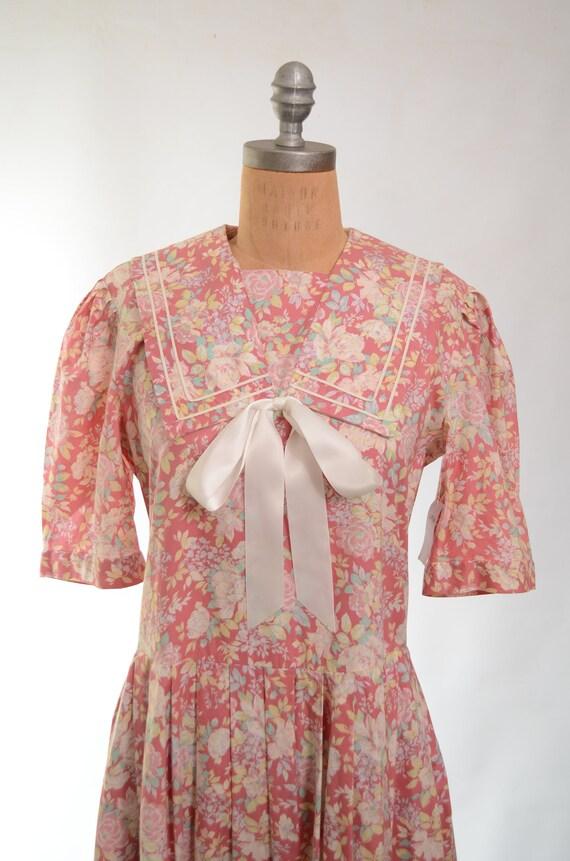 80s/90s Laura Ashley Mauve Floral Cotton Garden P… - image 9