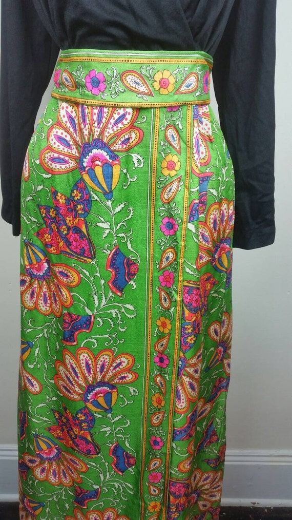 60s Maxi Dress Psychedelic Hippie Print L - image 2