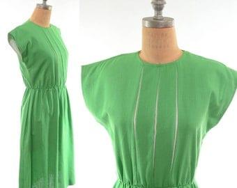 70s Linen-like Green and White Shirtwaist Dress S/M