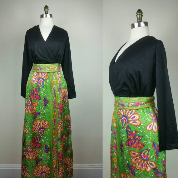 60s Maxi Dress Psychedelic Hippie Print L - image 1