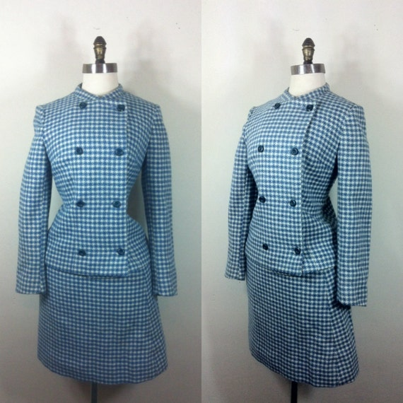50s Wool Suit Blue Checkered Skirt Set M
