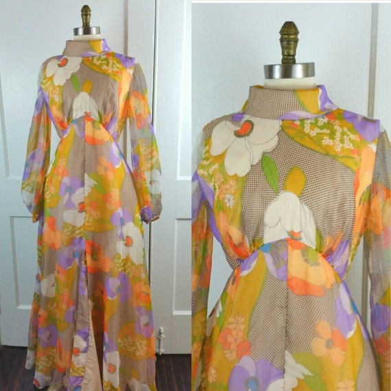 60s Maxi Dress Floral Long Sleeve Flower Power Hi… - image 1