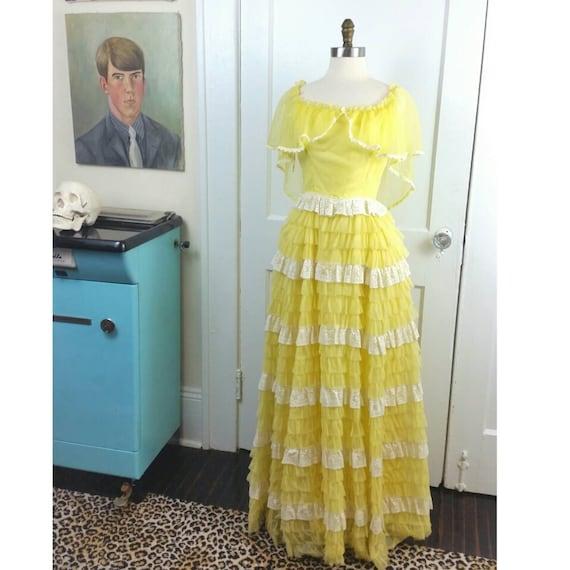 50s Cupcake Dress Yellow Lace Tiered Ruffle XS/S
