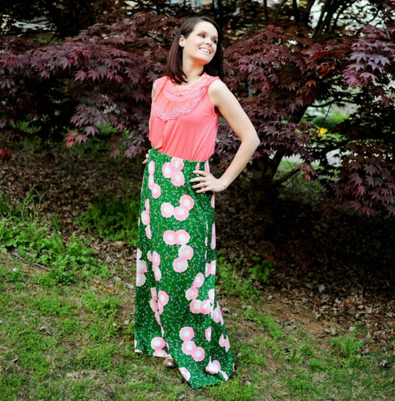 60s Maxi Skirt Floral Pink and Green Hippie