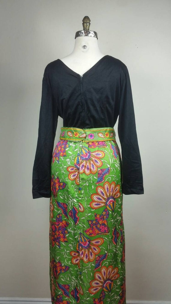 60s Maxi Dress Psychedelic Hippie Print L - image 5