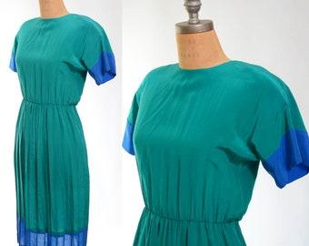 80s Silk Green and Blue Color Block Dress Small/Medium