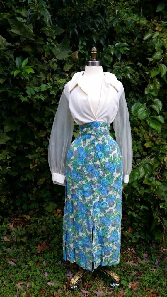 60s Plus Size Dress Floral Long Sheer Sleeve Deep