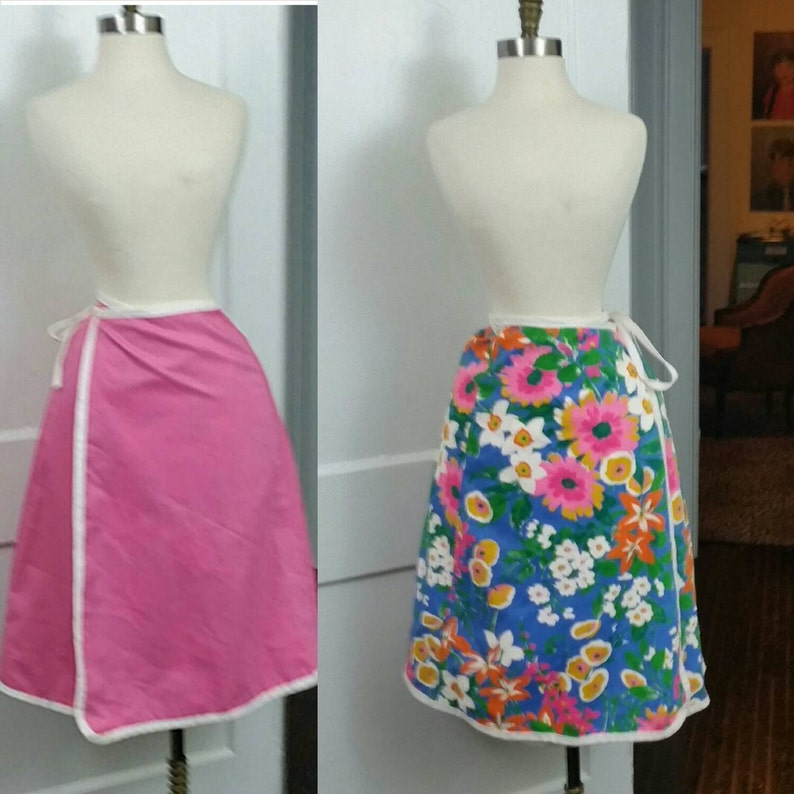 60s Wrap Skirt Blue Floral and Pink Reversible XS/S image 0