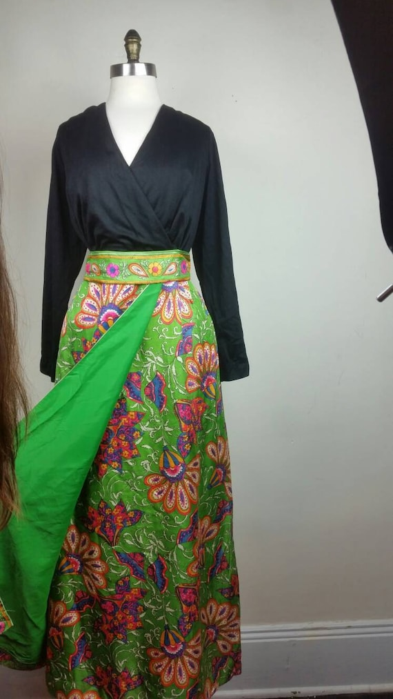 60s Maxi Dress Psychedelic Hippie Print L - image 4