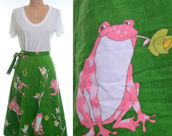 60s/70s Novelty Print Green Pink Frog Wrap Skirt XS/S