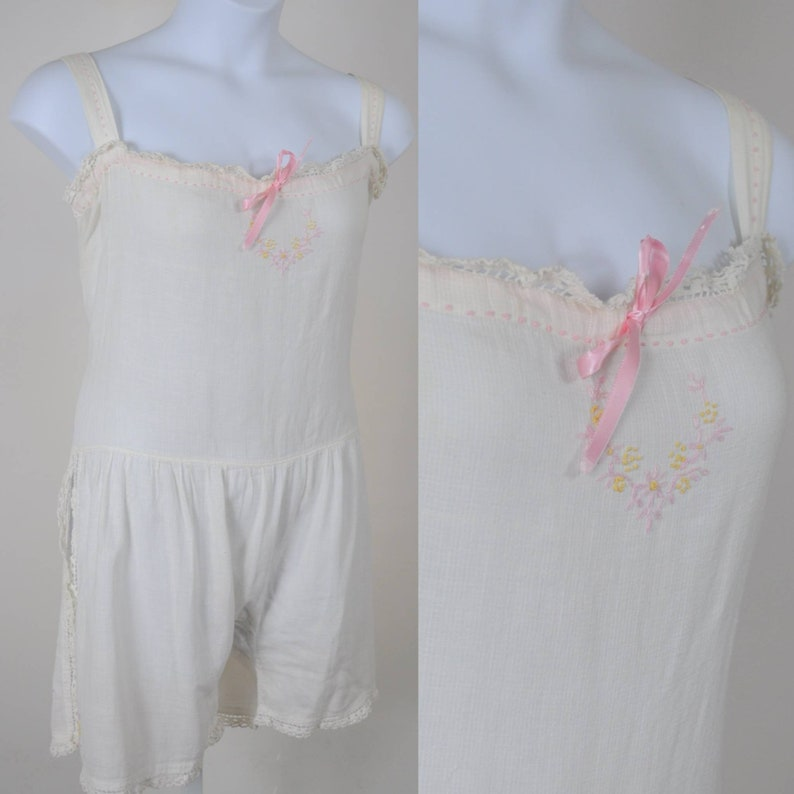 20s Plus-Size Step-In Lingerie White Cotton Gauze with Pink image 0