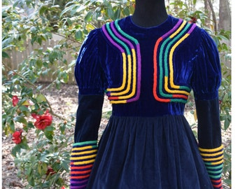 70s Blue Velvet Folk Dress with Vibrant Rope Cord Embroidery Detail and Romantic Puffed Sleeves Size M-L