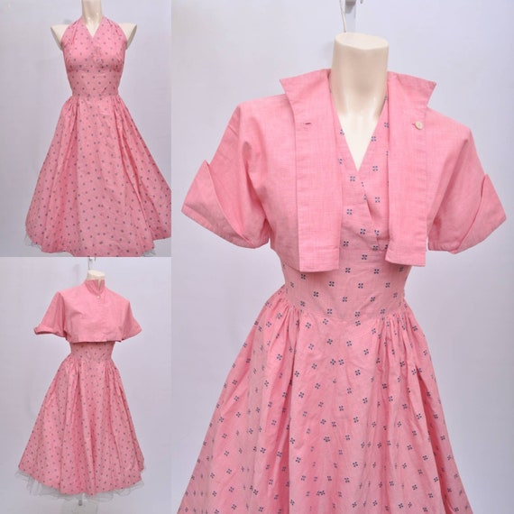 50s pink halter sundress with cropped bolero jacke