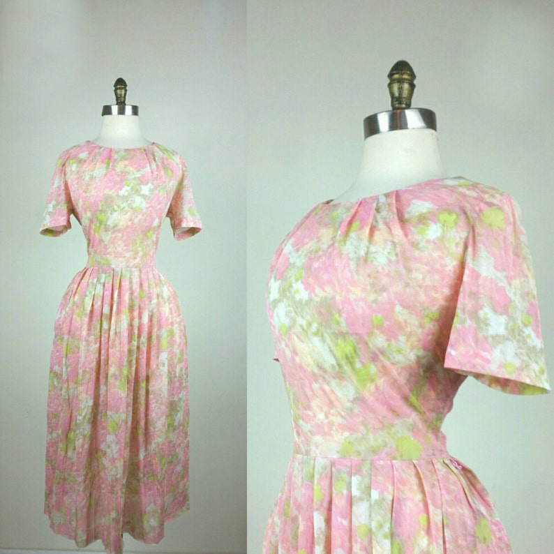 50s Day Dress Pink and Green Sheer M/L image 0