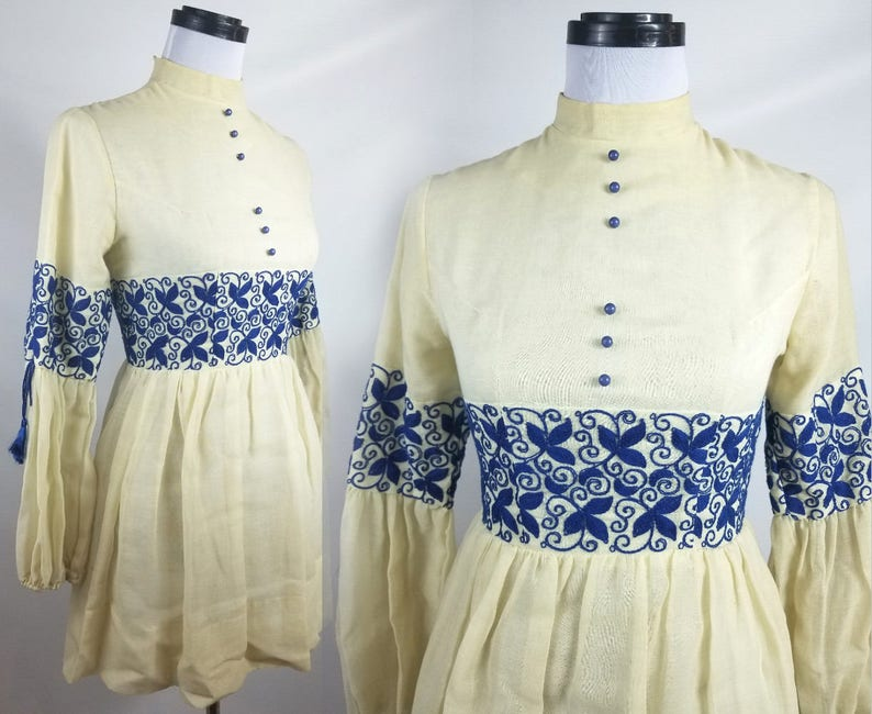 70s Linen Tunic with Intricate Cobalt Blue Embroidery and image 0