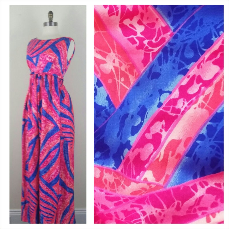 60s Pink Maxi Dress Tie Waist Blue Sleeveless S/M image 0