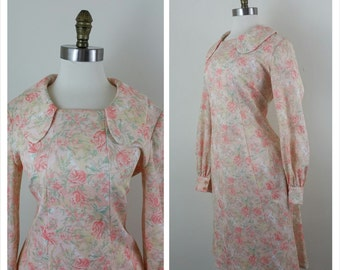 60s Mod Dress Pink Floral Collared Long Sleeve M/L