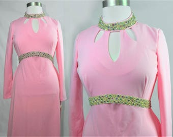 60s Plus Size Gown in Eye-Catching Bubblegum Pink - Flattering Neck Cut-outs and Ornate Sequin Trim Details Sz XL Tall