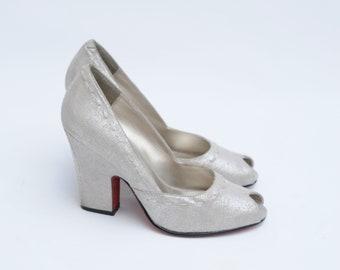 70s Silver Disco High Heel Platform Pumps Size 7