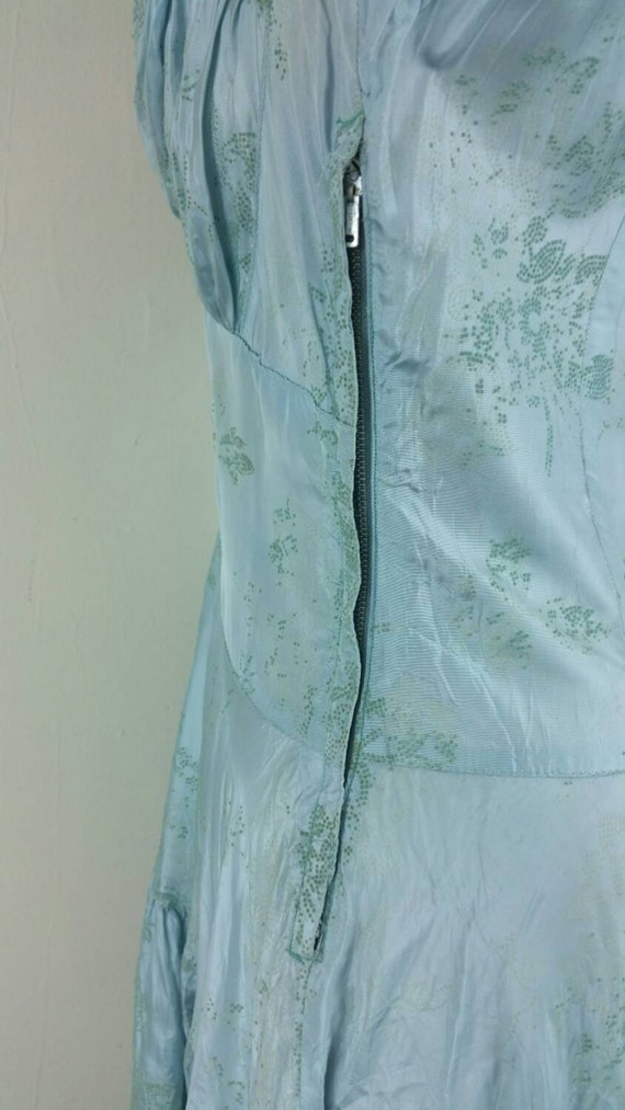 30s Dress Formal Gown Dropwaist Pale Blue S/M - image 4