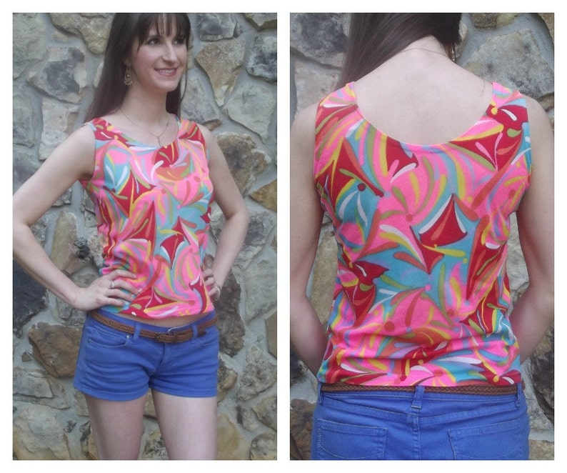 60s Psychedelic Tank Resort Beach Glam Size S image 0