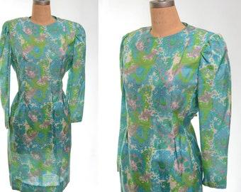 60s Psychedelic Paisley Long Sleeve Dress Large/Extra Large