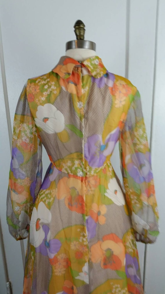 60s Maxi Dress Floral Long Sleeve Flower Power Hi… - image 3