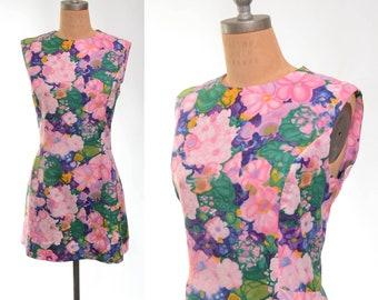 60s/70s Floral Painterly Micro Mini Mod Dress Large/XL+