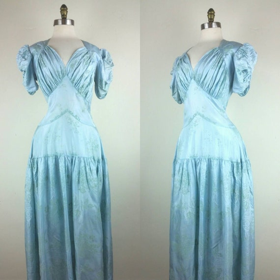 30s Dress Formal Gown Dropwaist Pale Blue S/M - image 1