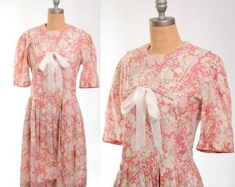 80s/90s Laura Ashley Mauve Floral Cotton Garden Party Dress