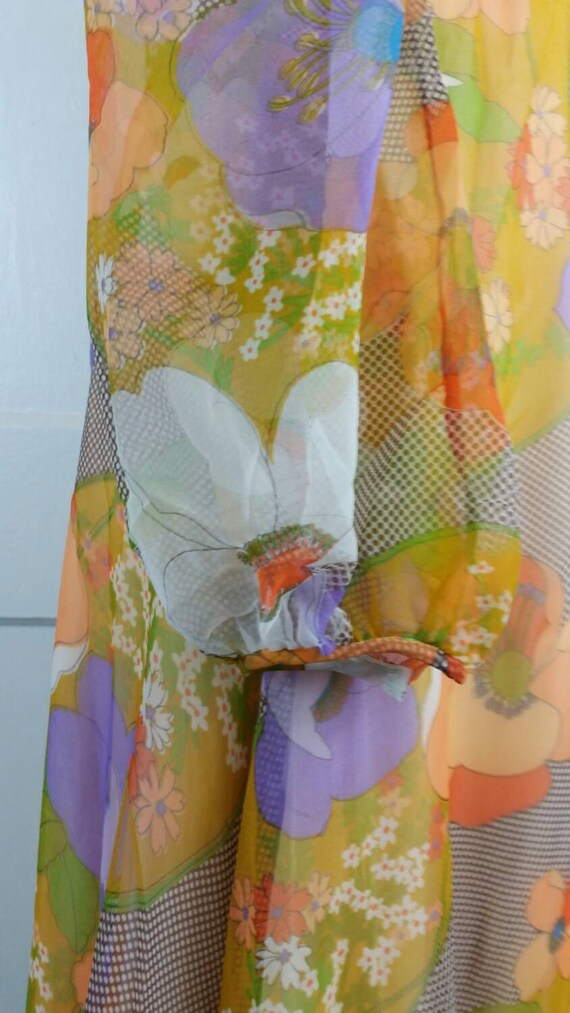 60s Maxi Dress Floral Long Sleeve Flower Power Hi… - image 5