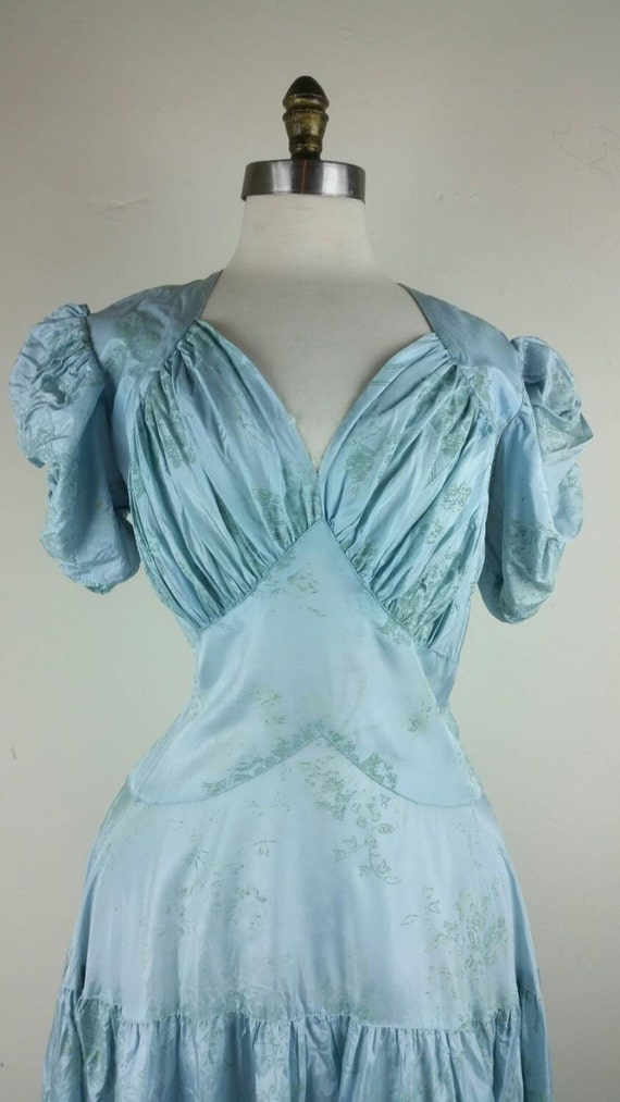30s Dress Formal Gown Dropwaist Pale Blue S/M - image 2