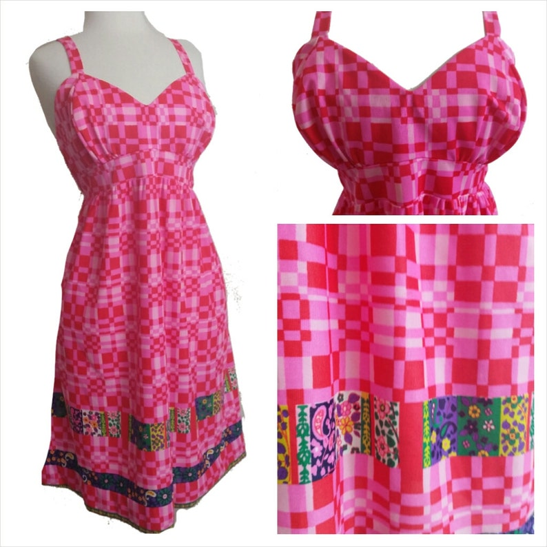 60s Mod Dress Pink and Red Sleeveless Hippie Dress M/L image 0