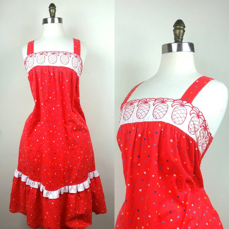 70s Red Sun dress Pineapple Trim Large image 0