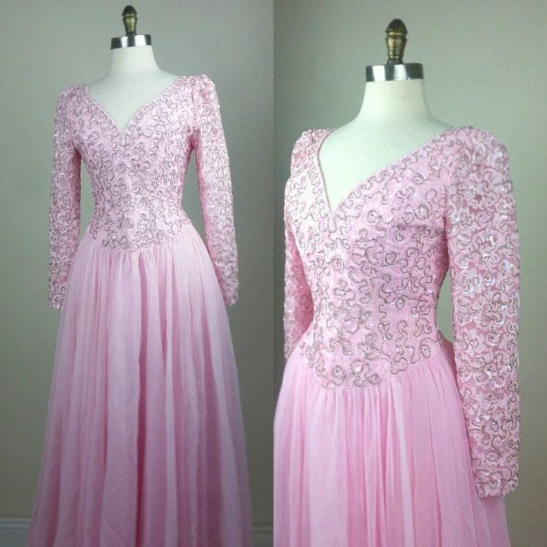 60s Designer Formal Gown Pink with Rhinestones image 0