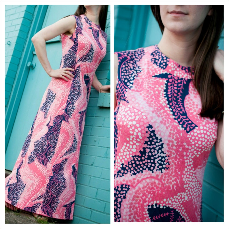 60s Mod Dress Pink and Blue Sleeveless Maxi S/M image 0