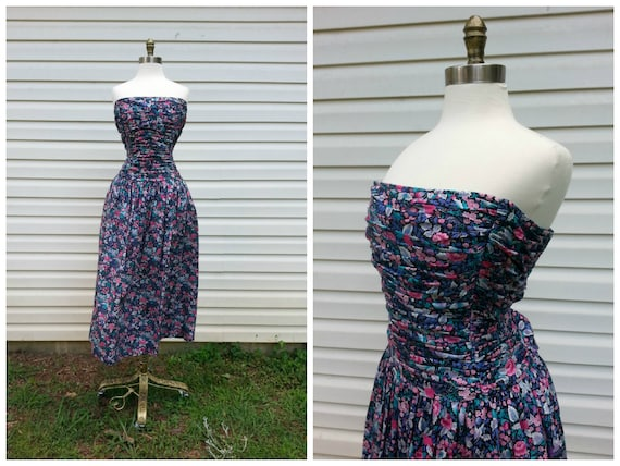 80s Strapless Dress Pin-Up Floral Print Party Dres
