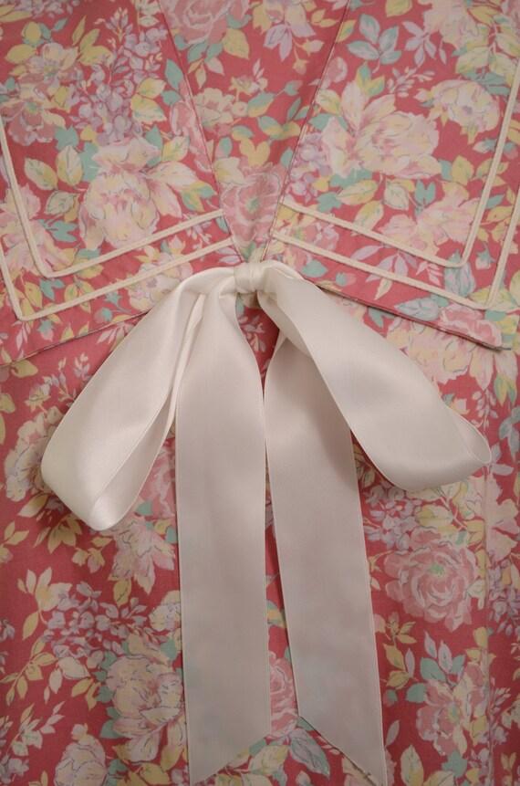 80s/90s Laura Ashley Mauve Floral Cotton Garden P… - image 8