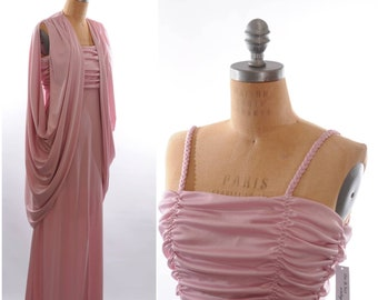 70s Disco Pink Maxi Dress and Cover-up Lorrie Deb XS