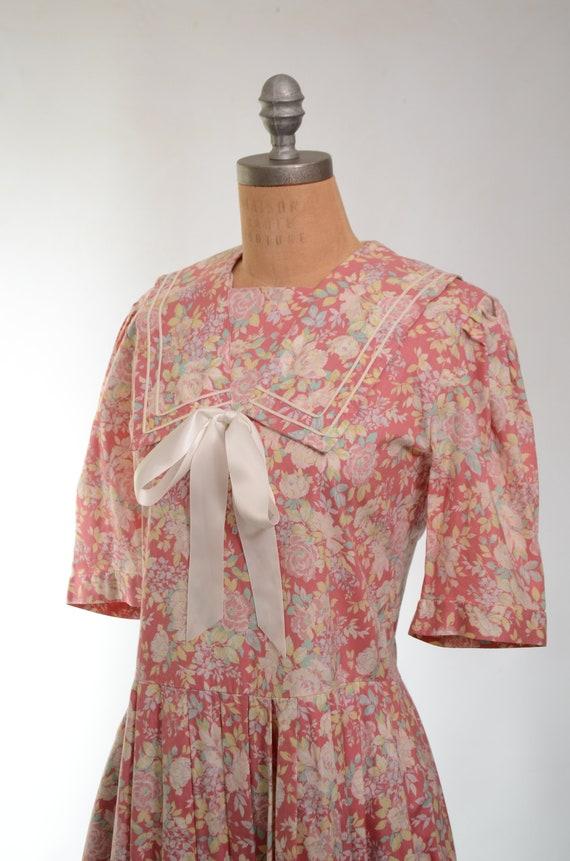 80s/90s Laura Ashley Mauve Floral Cotton Garden P… - image 6