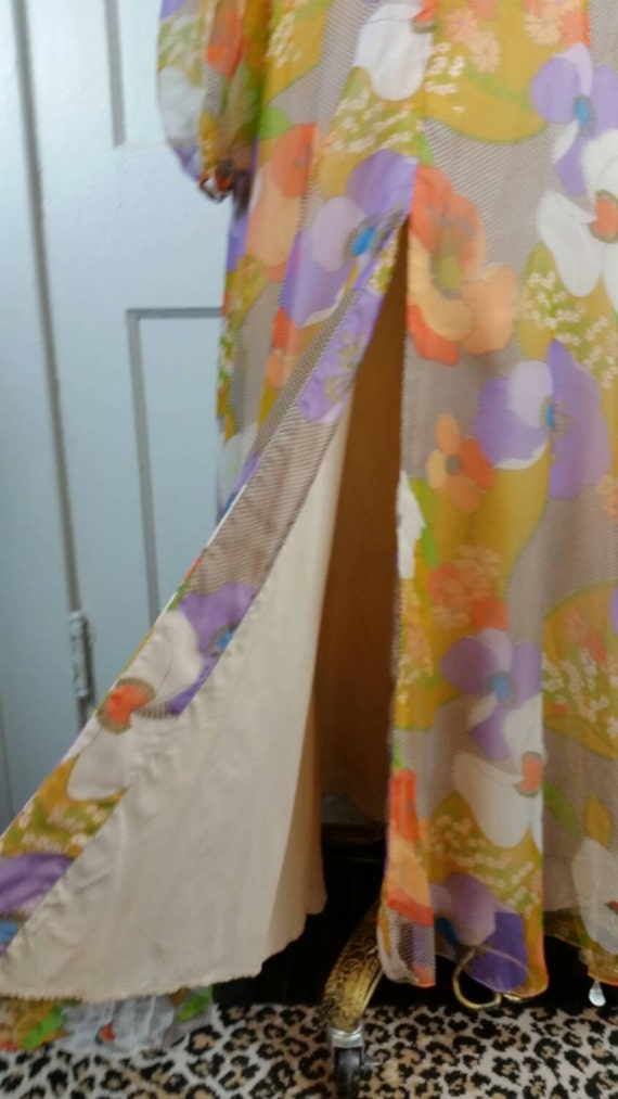60s Maxi Dress Floral Long Sleeve Flower Power Hi… - image 2