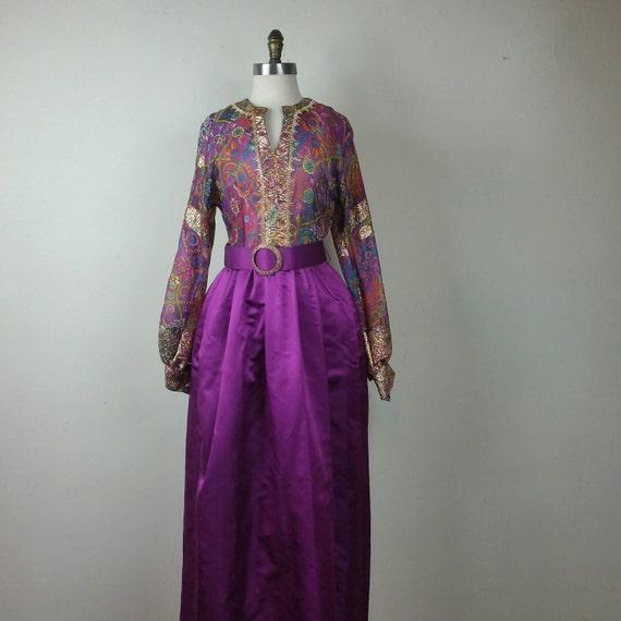 60s Oscar de la Renta Metallic Maxi Dress S - image 5