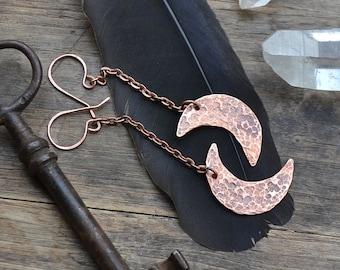 Moon earrings, crescent earrings, copper earrings, copper moon earrings, moon and chain earrings, moon on a chain earrings, boho earrings