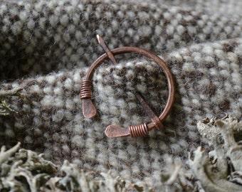 Shawl pin, simple shawl pin, penannular brooch, copper brooch, Anglo-Saxon, AngloSaxon pin, penannular shawl pin, recycled copper shawl pin