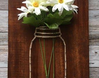 Floral Mason Jar String Art