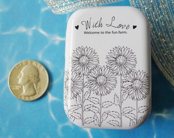Sunflowers Small Metal Box to Stash Small Items and Notions, Black and White Sun Flower Box with Flower Line Drawing and White Background