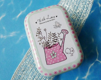 Pink Watering Can w a Small Baby Chicken Chick in Pink White and Blue, Small Metal Stash Box is Water Resistant and a Variety of Designs