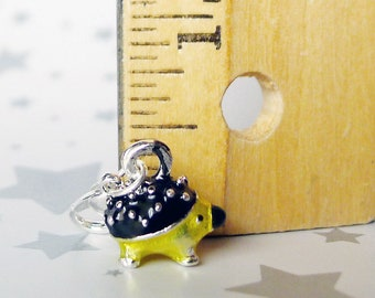 Hedgehog Animal Charms in Yellow and Black Enamel on Silver Tone Metal with a Lobster Claw Clasp, Hedgehog Hypoallergenic Jewelry Dangler