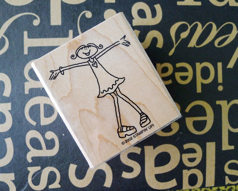 Girl with Her Arms Outstretched Rubber Stamp Mini Skirt Dress Cute Hippie Girl is Welcoming and Ready for a Hug Craft or Decor Project